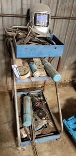 Welders Tool Cart, c/w Welders Helmet, Grinder, Welding Rods and Misc. Tools