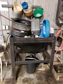 Oil Drain Tank, c/w Oil Pans and Funnels