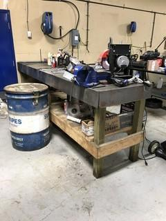 10 ft x 3 ft Work  Bench c/w Vise