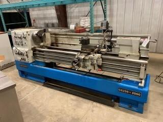 """Modern C6256X2000 Lathe, 22"""" Swing, 80"""" Between Centers, Speed (12) 25- 1600 RPM, Motor 208V / 60 / 3 Phase, Inch / Metric Threading, 3 Jaw Chuck, 4 Jaw Chuck, Steady Rest, Follow Rest, Splash Guard, Quick Change Tool Post, Acu-Rite Digital Read Out"""