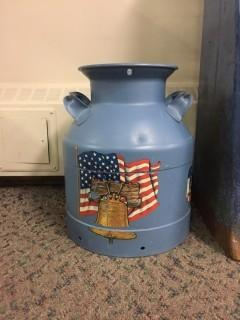 American Flag Painted Milk Can.