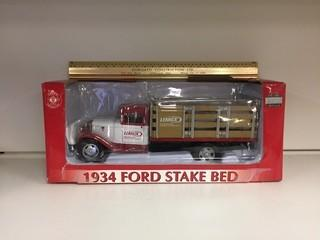 Lennox 1934 Ford Stake Bed Die Cast Model, 1:24 Scale.