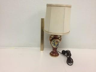 Floral Porcelain Lamp with Shade.