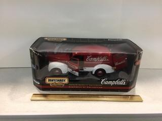 Matchbox Collectibles Campbell's 1940 Ford Sedan Delivery Diecast Model, 1:18 Scale.