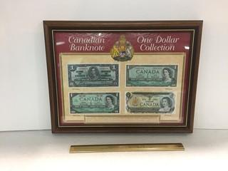 Framed 1967 Canadian Banknote One Dollar Collection.