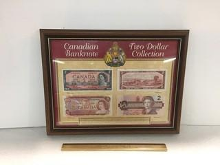 Framed 1974 Canadian Banknote Two Dollar Collection.