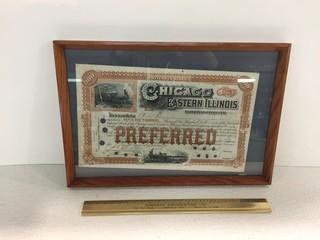 Framed Preferred Stock Chicago & Eastern Illinois Railroad Company 100 Shares Certificate.