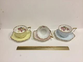 Lot of (3) Bone China Tea Cups with Saucers.