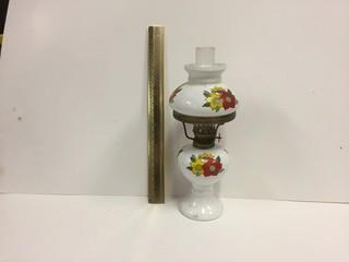 Floral Glass Oil Lamp.