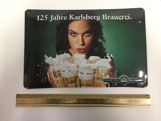 125 Jahre Karlsberg Brauerei Metal Sign.