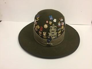 Boy Scout Hat with Assorted Pins.