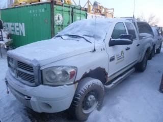 2007 Dodge 3500 4X4 Crew Cab Short Box Diesel Pick Up C/w 6.7L Cummins, A/T, Headache Rack, Westeel Slip Tank. Showing 403,047 Kms. VIN 3D7MX38AX7G774182.  Unit V-18