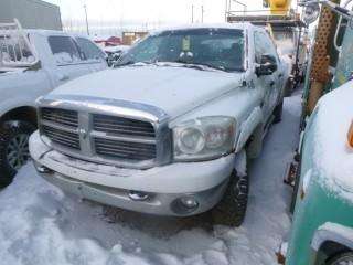 2007 Dodge 2500 4X4 Crew Cab Pick Up C/w 6.7L Cummins, A/T, Headache Rack, Short Box, Tidy Tank, 2-Way Radio And Trailer Hitch. Showing 296,580 Kms. VIN 3D7KS29A87G790184. Unit V-06 *Note: Missing Passenger Door Handle, Mirror And Panel*