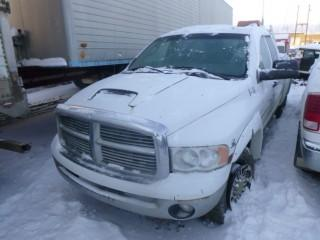 2005 Dodge 2500 Crew Cab Diesel Pick Up C/w A/T, 6.7L Cummins, Short Box, Headache Rack And Trailer Hitch. Showing 343,861 Kms. *Note: Front Tire Requires Repair* VIN 3D7KS28C25G854137. Unit V-14