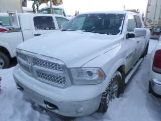 2014 Dodge 1500 Laramie 4X4 Crew Cab Pick Up C/w A/T, 5.7L V8, Headache Rack, Short Box And Trailer Hitch. SHowing 244,660 Kms. VIN 1C6RR7NT9ES399504. Unit V-69