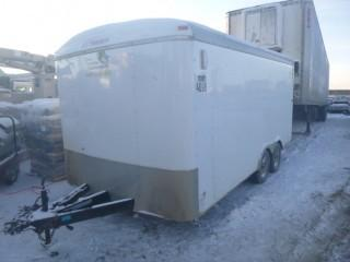 2014 Mirage T/A Enclosed Trailer C/w Ball Hitch, Inside Storage Box, Knaack Job Masters Cabinet, Fishing Spool, 16ft Side Door. VIN 5M3BE1625E1056462. Unit 4096