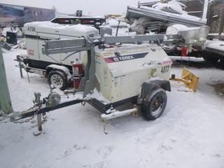 Terex RL4000 6Kw, Showing 8709 Hrs, S/A Light Tower C/w (4) Lights, 3Cyl Diesel, Ball Hitch, Tiltable Mast, Manual Extension. Unit 4077