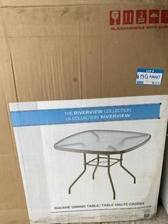 """38"""" X 38"""" Square Dining Table w/ Glass Top"""
