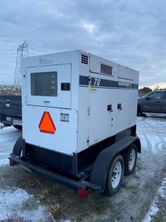 Whisperwatt 1 And 3 Phase 40Kw Tow Behind Diesel Powered AC Generator C/w 4Cyl John Deere Engine Showing 18087 Hrs. SN 8300099