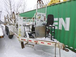 Triple Cable Stringing Trailer w/ Pintle Hitch, T/A, Honda GX 390 Motor. Unit 4022. *Note: Item Cannot Be Removed Until 12PM February 11th Unless Mutually Agreed Upon*