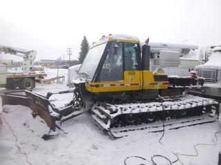 Bombardier BR400 Snowmachine C/w Snow Blade, Cab, Carrying Deck, 2-Way Radio. Showing 15313 Hrs. S/N 831890137. Unit 5034 *Note: Ignition Requires Repair, Runs And Functions*