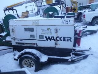 Wacker G25 20kw 1 And 3 Phase Tow Behind Generator.SN 5751215. Unit 4156