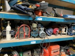 Contents Of Shelf Includes: Compressors, Hard Hats And Misc Supplies