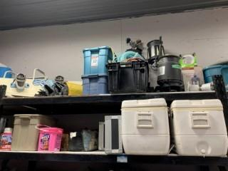 Contents Of Shelves Includes: (2) Coolers, Snow Board, Golf Clubs, Tent And Misc Supplies