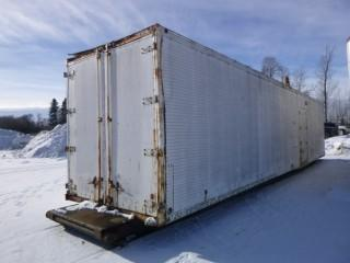 8' x 40' Tool Crib c/w All Contents. Double Skid Mounted, Power Lights, Side and Rear Door. Contents Include: Snow Blower, Lawn Mower, Roper Ptos, New and Used Electric Motors, Munice Pumps, Alternators, Starters, Trailer Stairs, Jack All, Heaters, New RV Parts, String Lights, Fire Extinguishers, Tool Boxes, Locators, Pressure Washer, Discharge Hose, Beam Clamps, New Cutting and Grinding Discs, Truck Parts, Air Bags, Filters, Seals, Fittings, Nuts and Bolts, Chains, Cab Radios, Lasers, Air Drill, New Band Saw Blades, and more