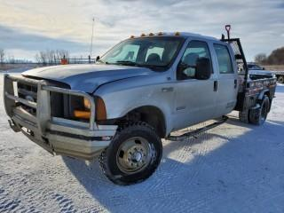 "2007 Ford F-350 S.D. Crew Cab, 4x4, 6.0 Litre, 4 Speed Automatic, Diesel Flat Deck Truck, C/w A/C,  8'4"" Deck and Under Belly Tool Boxes, Showing 194529 KM, Showing 7074.7 Hours, VIN 1FTWW33P17EB34208"