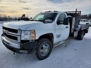 2008 Chevrolet Silverado 3500 H.D. Regular Cab, 4x4, 6.0 Litre, Automatic, Flat Deck Truck, C/w A/C, 8' Deck and Under / Over Storage Cabinets, Showing 363769 KMS, Showing 978.6 Hours VIN 1GBJK34K38E198295