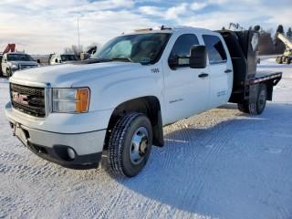 2011 GMC 3500 H.D. Crew Cab, 4x4, Flat Deck Truck, 6.6 Litre Diesel, Automatic C/w A/C, 8' Deck and Storage Boxes, PTO Option Switch, Showing 141605 KMS, Showing 10.5 Hours, VIN 1GD423CL5BF128099