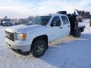 2011 GMC 3500 H.D. Crew Cab, 4x4, Flat Deck Truck, 6.6 Litre Diesel, Automatic C/w A/C, 8' Deck and Storage Boxes, PTO Option Switch, Showing 178091 KMS, Showing 7169.6 Hours  VIN 1GD423CL2BF124804