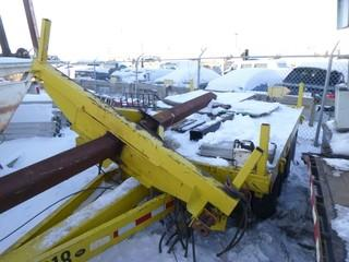T/A Flat Deck Power Pole Trailer C/w Neck Extension And Bunk *Note: Extension Has Been Removed, No Hitch, SN OBL, Item Cannot Be Removed Until 12Pm February 11th Unless Mutually Agreed Upon*