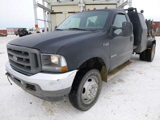 2003 Ford F450 KXL Super Duty 4x4 Flat Bed Truck, 6.0L Diesel  V8 Power Stroke Turbo, C/w A/C, 11ft Bed, Tool Cabinet, Lincoln Classic 3 Arc Welder(Model SA300-TM27, 230V A/C - 13 Amp Max Total, S/N C1980100367, ) Showing 328929 KM,  VIN 1FDXF47P63ED40022 * Note Unable to Verify Hours on Welder*