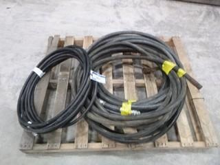 "(3) 50"" 3/4"" 350 PSI LP Gas Hose, C/w (1) 50' 1/2"" 4250 PSI Hydraulic Hose"