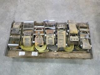 """Quantity of 4"""" Wire Hook Ratchet Straps (12 Straps, 7 Spring-Loaded Ratchet Buckles Tension) (O-S-N-F)"""