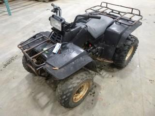 92 Kawasaki KLF 300B Quad, VIN JKALF8B12NB520884 (Note No Battery, Damaged Front End, Cracked Seat Cover, Damaged Fuel Gauge, Front End Seized, Not in Running Condition)