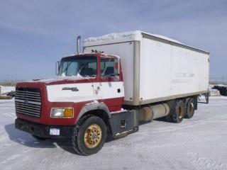 1991 Ford AeroMax L9000 Van Truck, Cummins 404 Diesel, Eaton Fuller 8LL, Showing 69145 KM, Showing 995.5 Hours, C/w 24' Van Body, Rear Roll Up Door, Side Door, Spring Susp. VIN 1FD4495L4MVA07993 *See Documents Tab Below For Work Orders*
