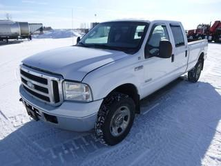 2006 Ford F-350 XLT Super Duty 4 x 4, 6.0 Power Stroke Diesel, C/w  A/C, Showing 324346 KM, VIN 1FTWW31P66ED49780 *Note Damage on Passenger Side Box, Tear in Front Drivers Seat, Hard Start, Runs and Drives*
