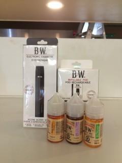 Baker White Starter Kit E-Cigarette, Lot of (2) 8 Pack Refillable Pods & (3) Assorted Juices.