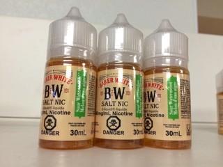 Lot of (9) Baker White Vape Juice Sour Watermelon, 40mg/ml Nicotine.