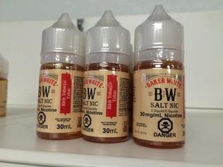 Lot of (12) Baker White Vape Juice Rich Tobacco, 30mg/ml Nicotine.