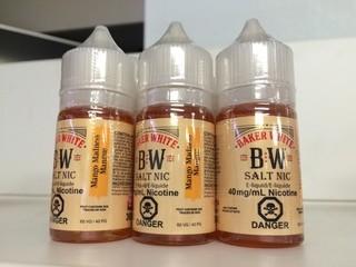 Lot of (12) Baker White Vape Juice Mango Madness, 40 mg/ml Nicotine.