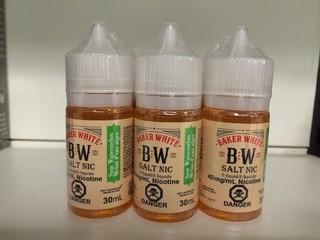 Lot of (12) Baker White Vape Juice Sour Watermelon, 40mg/ml Nicotine.