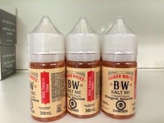 Lot of (9) Baker White Vape Juice Rich Tobacco, 30mg/ml Nicotine.