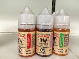 Lot of (9) Assorted Baker White Vape Juice.