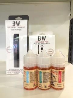 Baker White Electronic Cigarette Starter Kit With (2) Refillable Pod Packs & (3) Assorted Vape Juices.