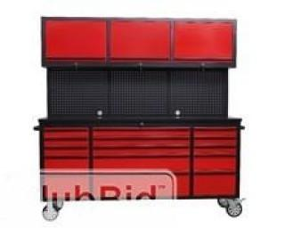 """NEW 72"""" Red Powder Coated Tool Chest w/ 15 Drawers & 3 Cabinets & Pegboard"""