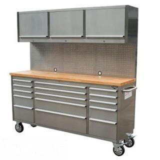 "NEW 72"" Stainless Steel tool Chest w/ 15 Drawers & 3 Overhead Cabinets"